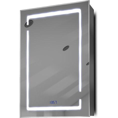 Armoire De Toilette Anti-Buée Avec Capteur, Prise Rasoir Et Horloge K386W - Couleur LED : Blanc