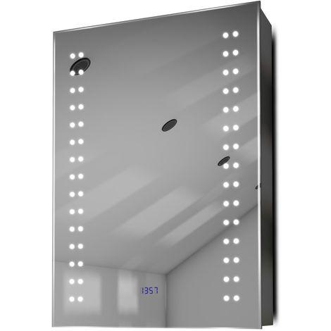 Armoire De Toilette Anti-Buée Avec Capteur, Prise Rasoir Et Horloge K388W - Couleur LED : Blanc