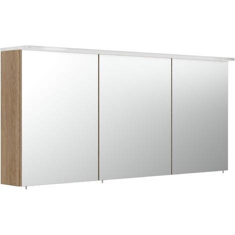 """main image of """"Armoire de toilette avec miroirs et Lampe acrylique 140cm en Décor chêne"""""""