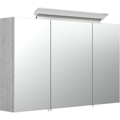 Armoire de toilette avec miroirs et Lampe LED acrylique 100cm en Aspect Béton