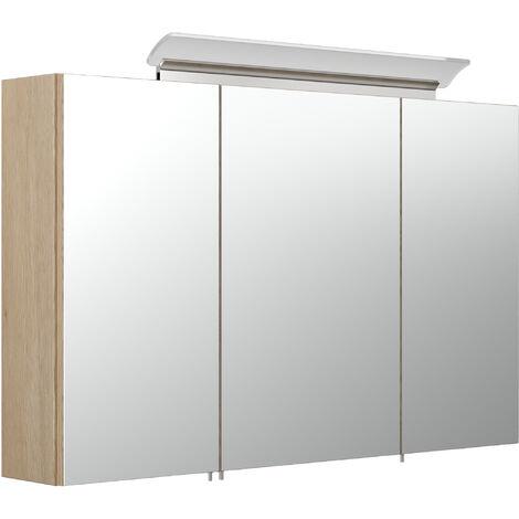 Armoire de toilette avec miroirs et Lampe LED acrylique 100cm en Décor chêne