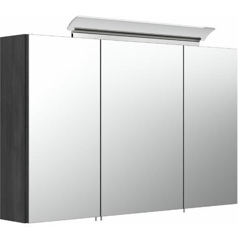 Armoire de toilette avec miroirs et Lampe LED acrylique 100cm en Graphite