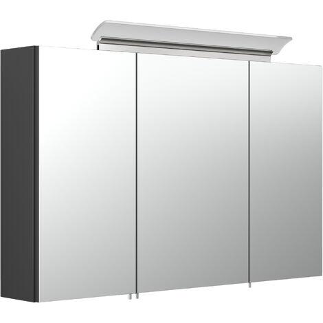 Armoire de toilette avec miroirs et Lampe LED acrylique 100cm en Noir satiné