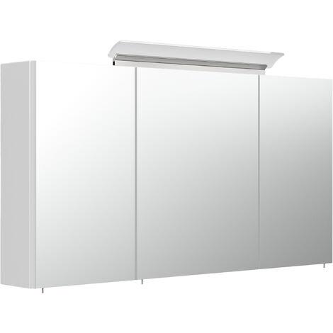 Armoire de toilette avec miroirs et Lampe LED acrylique 120cm en Blanc brillant