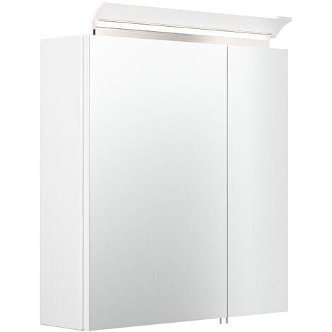 Armoire de toilette avec miroirs et Lampe LED acrylique 60cm en Blanc brillant
