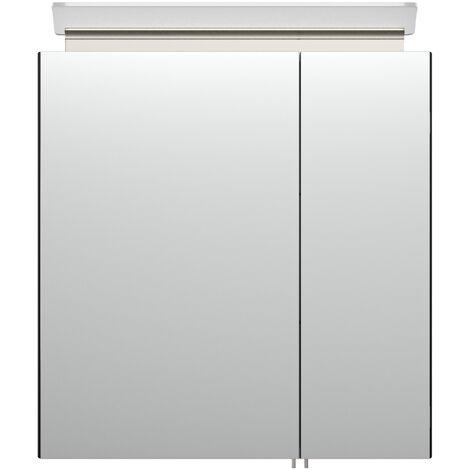 Armoire de toilette avec miroirs et Lampe LED acrylique 60cm en Noir satiné