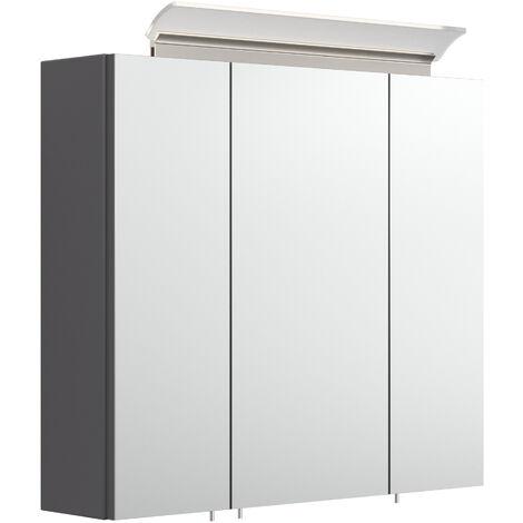 Armoire de toilette avec miroirs et Lampe LED acrylique 70 cm Anthracite satiné