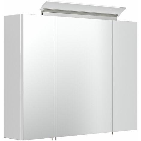 Armoire de toilette avec miroirs et Lampe LED acrylique 80cm en blanc brillant