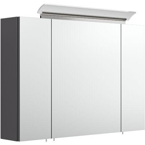 Armoire de toilette avec miroirs et Lampe LED acrylique 90cm Anthracite satiné