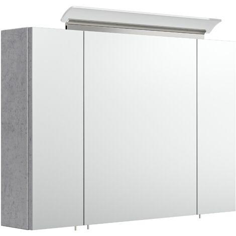 Armoire de toilette avec miroirs et Lampe LED acrylique 90cm en Aspect Béton