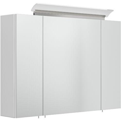 Armoire de toilette avec miroirs et Lampe LED acrylique 90cm en Blanc brillant