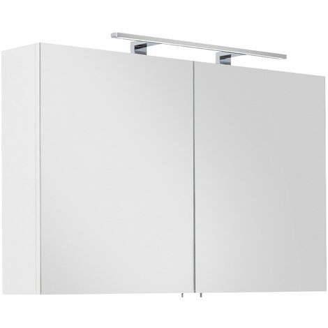 Armoire de toilette avec miroirs Série SANTINI 100 blanc incl. lampe LED
