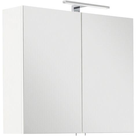 Armoire de toilette avec miroirs Série SANTINI 75 blanc incl. lampe LED