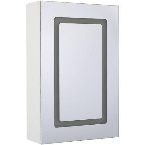 Armoire de toilette blanche avec miroir et LED 40 x 60 cm CONDOR