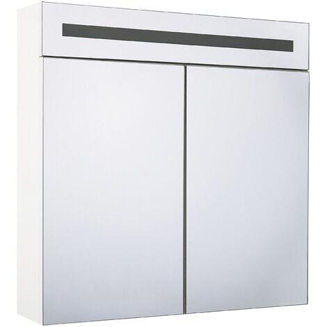 Armoire de toilette blanche avec miroir LED 60 x 60 cm JARAMILLO