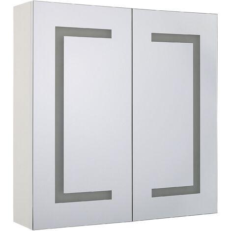 Armoire de toilette blanche avec miroir LED 60 x 60 cm MAZARREDO