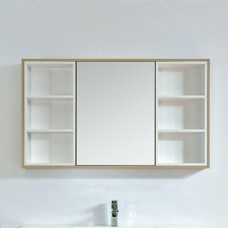 Armoire de toilette bloc-miroir 120 cm FRAME finition mélaminé chêne - Marron