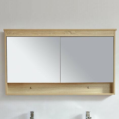 Armoire de toilette bloc-miroir 120 cm TYPO finition mélaminé chêne - Marron