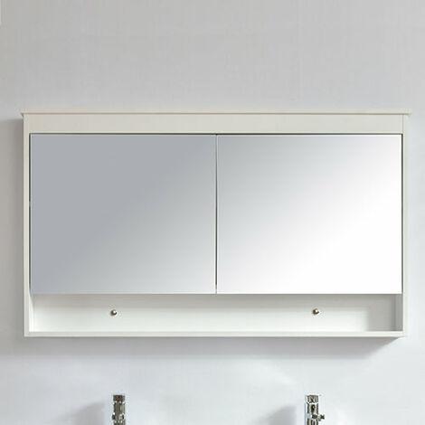 Armoire de toilette bloc-miroir 120 cm TYPO finition mélaminé blanc  - Blanc