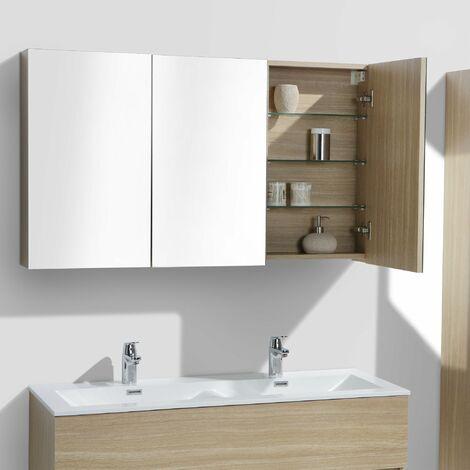 Armoire de toilette bloc-miroir SIENA largeur 120 cm chêne clair texturé  - Marron