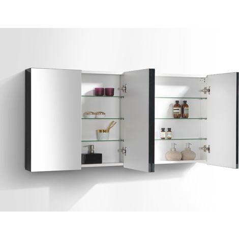 Armoire de toilette bloc-miroir SIENA largeur 144 cm, blanc laqué