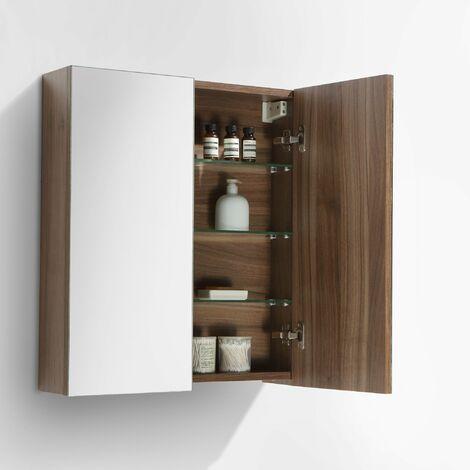 Armoire de toilette bloc-miroir SIENA largeur 60 cm, noyer