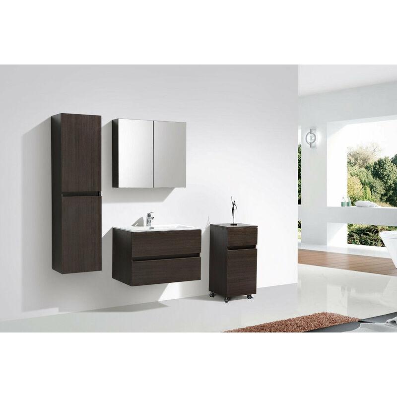 Armoire De Toilette Bloc Miroir Siena Largeur 80 Cm Chene Marron A 800 Mir Goak