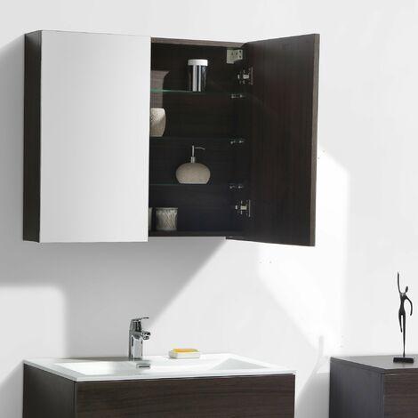 Armoire de toilette bloc-miroir SIENA largeur 80 cm, chêne marron