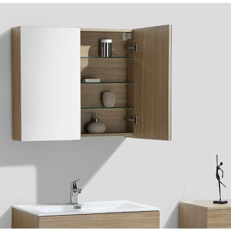 Armoire de toilette bloc-miroir SIENA largeur 80 cm, noyer