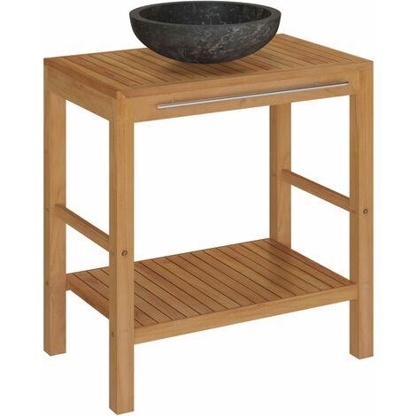 Armoire de toilette en teck solide avec lavabo en marbre Noir