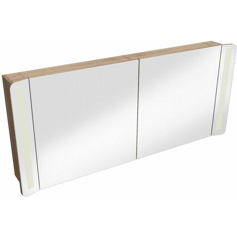 Armoire de toilette frêne double miroir + éclairage LED L120 TIGA