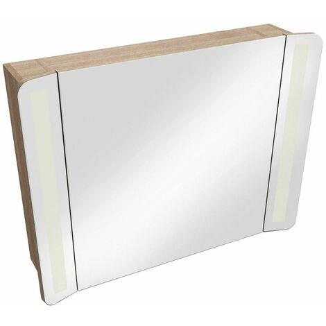 Armoire de toilette frêne miroir + éclairage LED L80 TIGA