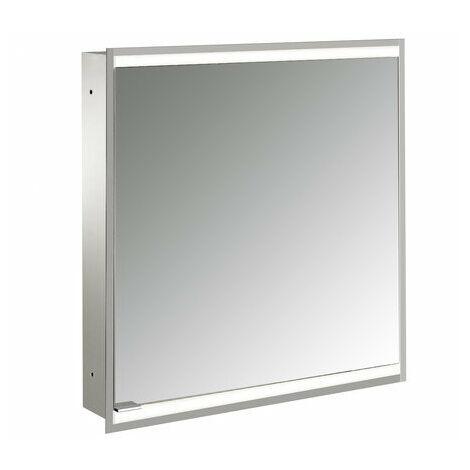 Armoire de toilette lumineuse Emco prime 2, 600 mm, 1 porte, charnière à droite, version encastrée, IP 20, avec boîtier lumineux, Exécution: Panneau arrière en verre blanc - 949706132