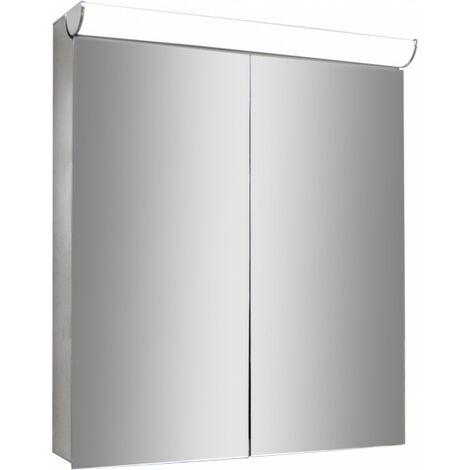 Armoire de toilette Multy BS60 - miroir intérieur et extérieur - éclairage LED et prise électrique - 60cm