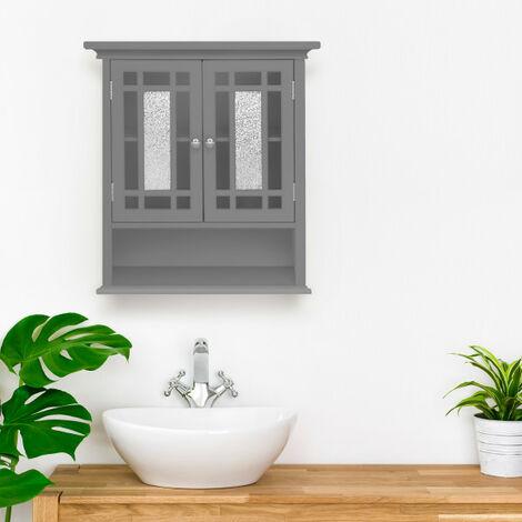 Armoire de toilette placard mural de salle de bain en bois gris Windsor Elegant Home Fashions EHF-527G
