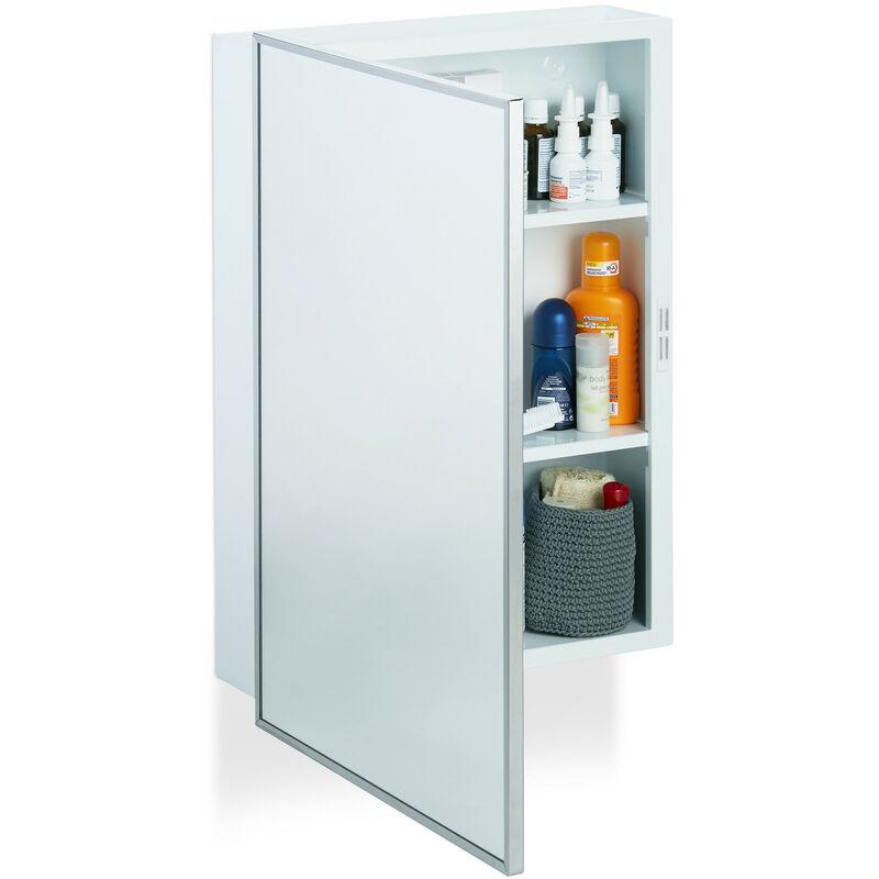 Armoire de Toilette Salle de Bain Placard Meuble Mural 1 Porte Acier 3  Tablettes, HLP 56x40,5x12,5 cm, Blanc