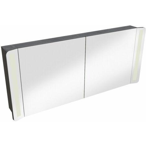 Armoire de toilette taupe double miroir + éclairage LED L120 TIGA