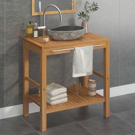 Armoire de toilette Teck solide et lavabo en pierre de rivière