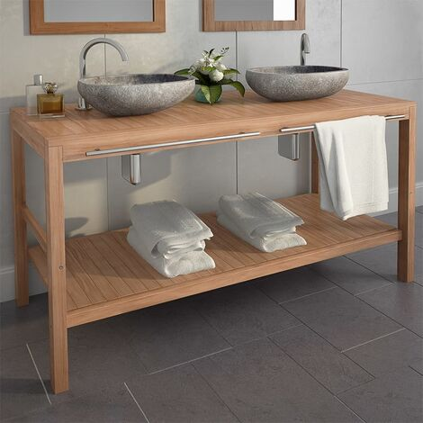 Armoire de toilette Teck solide et lavabos en pierre de riviere