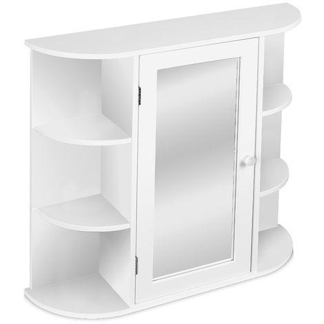 Armoire de Toilettes Murale Salle de Bains Blanc avec Portes et miroirs 60*17*58cm