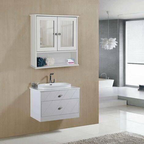 """main image of """"Armoire de toilettes Salle de bains Blanche murale avec portes et miroirs LHC002 - Blanc"""""""