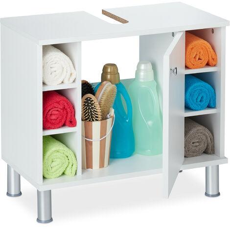 Armoire dessous de lavabo, une porte, 7 compartiments, encoche siphon, salle de bain MDF, 53,5x60x32 cm, blanc