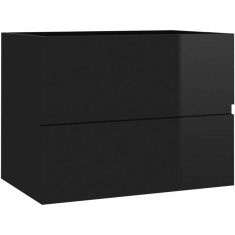 Armoire d'évier Noir brillant 60x38,5x45 cm Aggloméré