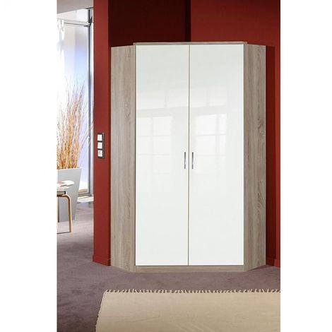 Armoire dressing d'angle COOPER 2 portes 95*95 laquée blanc / décor chêne