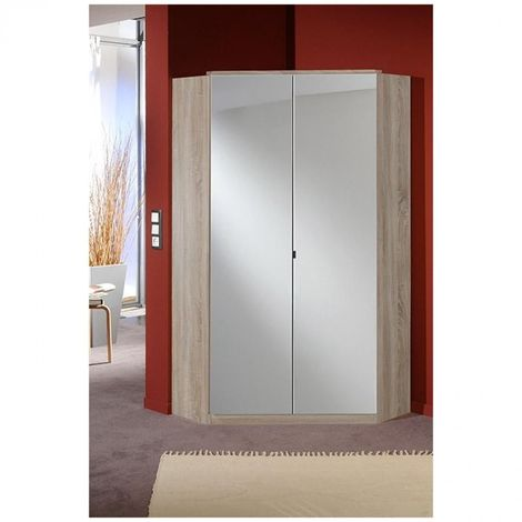 Armoire dressing d'angle COOPER 2 portes miroirs 95*95 chêne