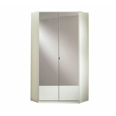 Armoire dressing d'angle DINGLE 2 portes miroirs 95*95 blanche
