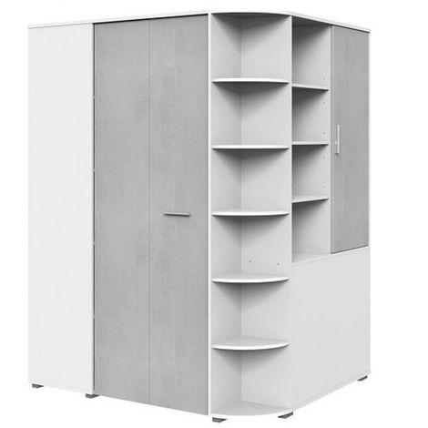 Armoire dressing d'angle VOLVERINE blanc / béton gris clair - bi color