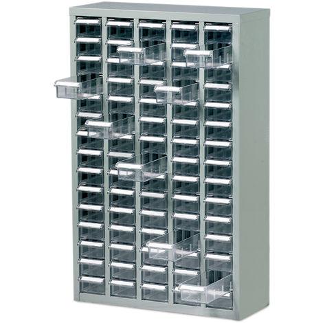Armoire en acier en Acier Gris, 75 tiroirs en ABS transparents, 937mm x 586mm x 222mm