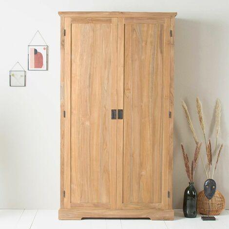 Armoire en bois de teck 2 portes - Naturel