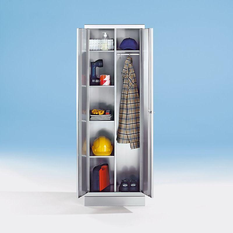 Certeo - Armoire en inox - armoire à linge - 4 tablettes, 1 tablette supérieure, tringle avec 3 patères - Coloris corps: acier inoxydable